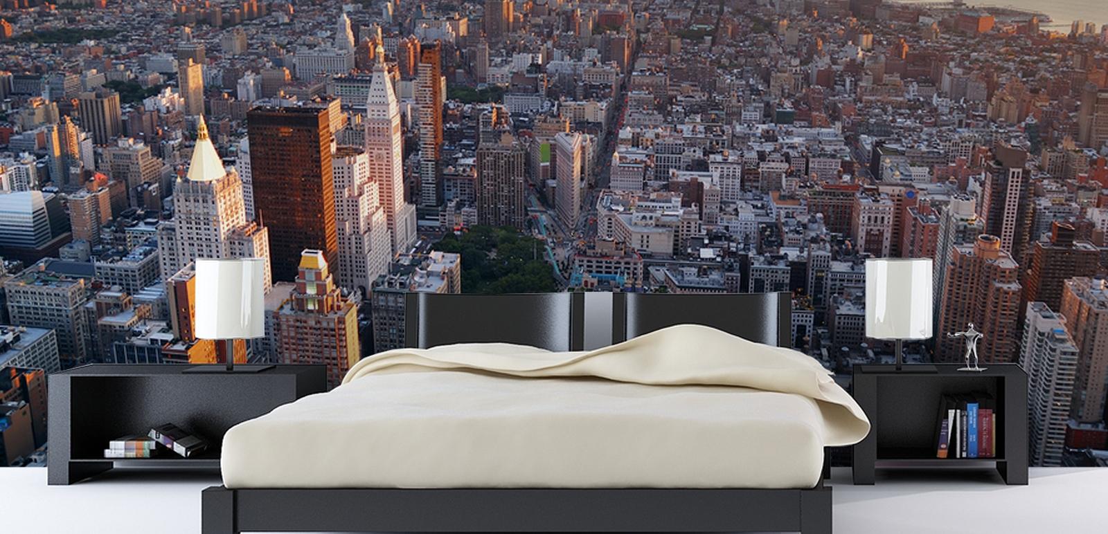 bedroom city wallpaper