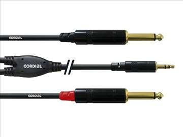 Cordial 2Jack, 6.3mm, mono-1Jack, 3.5mm, 1.5m