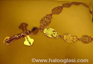 Pozlaćen lanac Grbovi Srbije 198 grama
