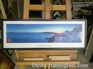 Santorini - Grčka, uramljen foto na platnu