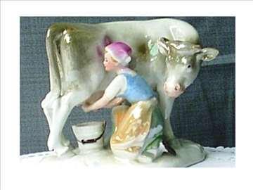 Devojka muze kravu