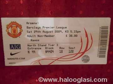 Karta PL Mancester Junajted - Arsenal, 2009.
