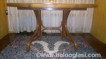Thonet trpezarijski ovalni sto sa španskom trskom