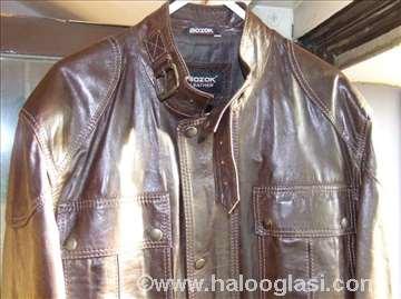 Braon kožna jakna /novo/