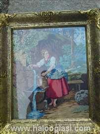 Original Vilerov goblen  Devojka na izvoru
