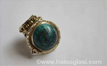 Prsten, pozlata, tirkiz