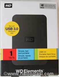 Prenosni disk WD 1 TB, 2.5 in, USB 3.0