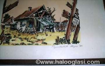 Stari Beograd akvarel - tuš 1983. godina