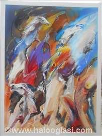 Krdo konja 3, ulje na lesonitu, 80x60 cm, akademsk