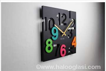 Crni zidni sat 3D, novo