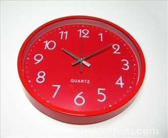 Crveni zidni sat okrugli - novo