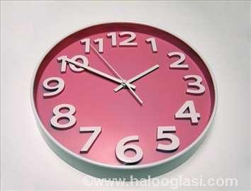 Prelep rozi zidni sat okrugli - novo