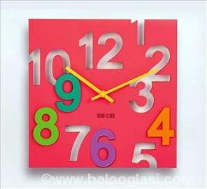 Roze zidni sat 3D - novo