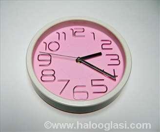 Rozi okrugli zidni sat - novo