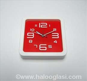 Zidni sat + budilnik, crveni, novo