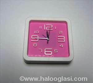 Zidni sat + budilnik rozi, novo