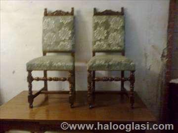 Hrastove stolice u duborezu 6 komada