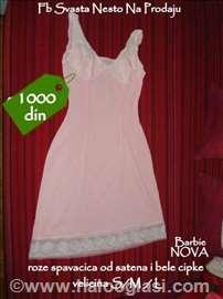 Kvalitetna spavaćica od roze satena i bele čipke