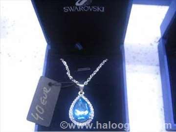 Swarovski ogrlica veliki plavi kamen