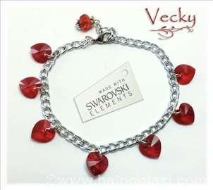 Swarovski narukvica sa srcima RED