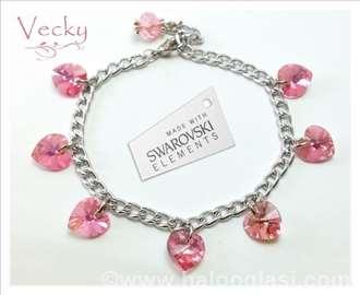 Swarovski narukvica sa srcima, roze