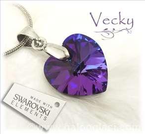 Swarovski ogrlica Srce 1,5cm HT