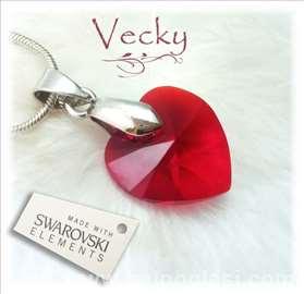 Swarovski ogrlica srce 1.5cm red