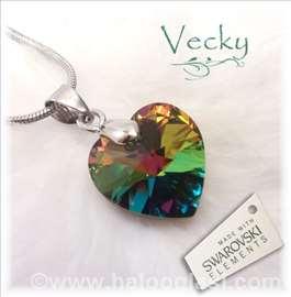 Swarovski ogrlica Srce 1,5cm VM