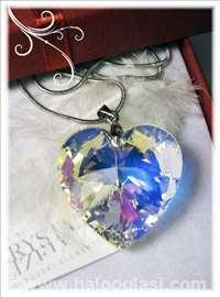 Swarovski ogrlica Srce 3cm AB