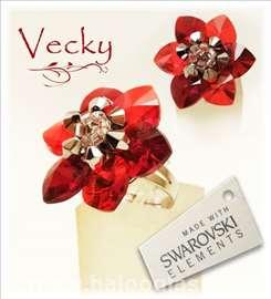 Swarovski prsten cvet red