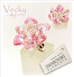 Swarovski prsten cvet roze