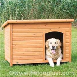 Drvena kućica za pse sa ravnim krovom
