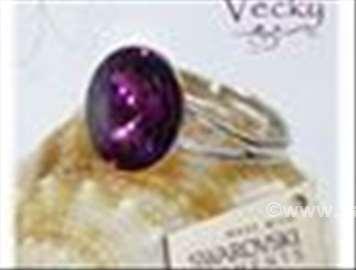 Swarovski prsten 12mm  T. ljubičasti