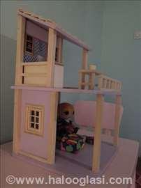 Kućica za lutke barbike od drveta