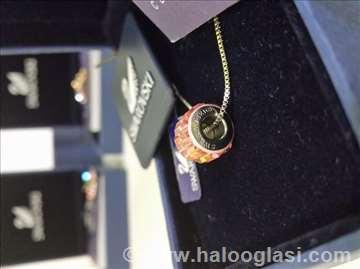 Swarovski ogrlica  privezak točak žuta !