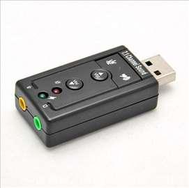 USB zvučna kartica 7.1 (4 tastera) 3D extra novo