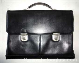 Poslovna akten tašna - prava crna koža