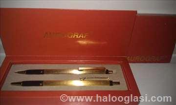 Olovka Aurograf srebrni i zlatni komplet