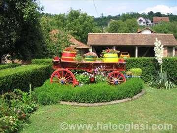Košenje trave trimerom, orezivanje žive ograde