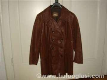 Ženska braon kožna jakna