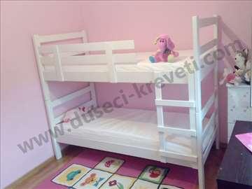 Kreveti na sprat u beloj boji sa dusecima