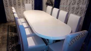 Trpezarijski stolovi, ovalni, beli