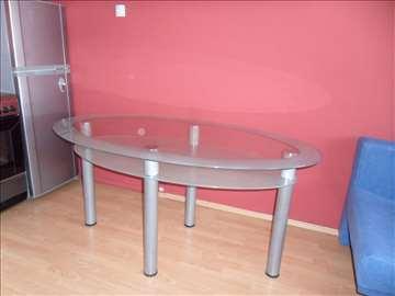 Stakleni trpezarijski sto 160x90x75