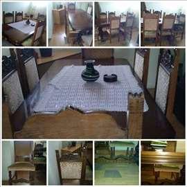 Trepezarijski sto + 6 stolica