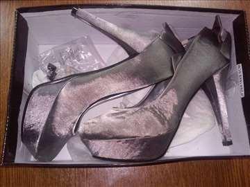 Sive svilene salon cipele