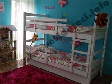 Beli krevet na sprat+ duseci+mala ogradica+2 fioke