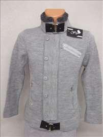 Figo svetlo sivi džemper-jaknica