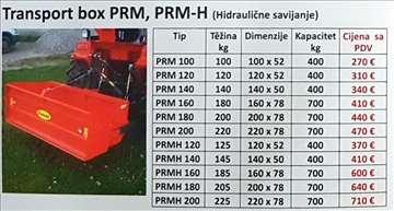 Transportni box PRM, PRM-H hiraulično savijanje