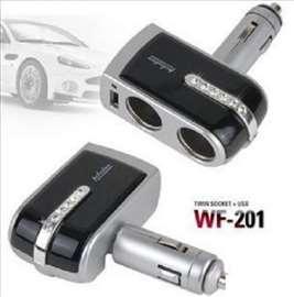 Adapter za auto sa 1na3 islaza+ USBulaz
