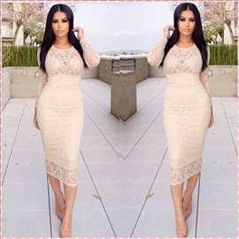 165) Čipkano pamučna duga haljina više boja